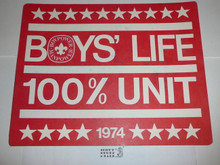 1974 100% Boys' Life Unit Banner / Award