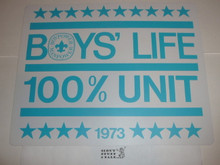 1973 100% Boys' Life Unit Banner / Award