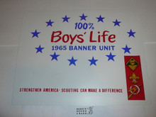 1965 100% Boys' Life Unit Banner / Award