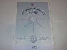 2005 Boy Scout Troop Charter, unissued and blank