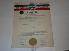 1957 Sea Scout Ship Charter, January, 20 year Veteran Ship Sticker