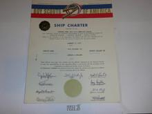 1968 Sea Scout Ship Charter, January, 30 year Veteran Ship Sticker