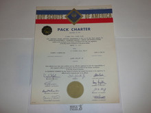 1969 Cub Scout Pack Charter, March, 20 year veteran sticker