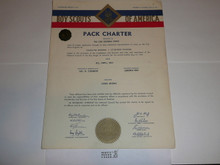 1957 Cub Scout Pack Charter, May, 5 year veteran sticker