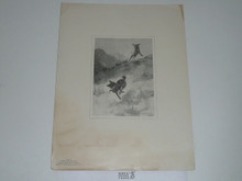 "Printied Book Plate of Seton Drawing ""Tito's Race for Life"" 1900"