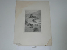 "Printied Book Plate of Seton Drawing ""Tito and Her Brood"" 1900"