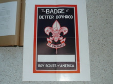 "Poster Titled ""A Badge of Better Boyhood"" With Room For Publicity, 19""x25"", Partially Affixed to Scrapbook Paper"
