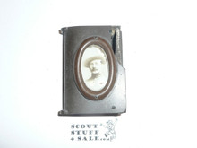 Baden Powell Picture on Bakelite Matchsafe, Cracked Corner