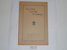 Your Home Your Boy and Scouting, 1929 Printing, Boy Scout Service Library, No Cover Printing