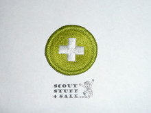 Safety (Green bdr) - Type H - Fully Embroidered Plastic Back Merit Badge (1971-2002)