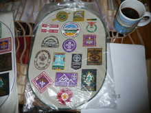 1983 Boy Scout World Jamboree Large  Oval Patch with the logos of all Jamborees embroidered on it