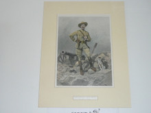 1900 Print of Baden Powell By R. Caton Wooodville On Posterboard and Matted