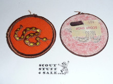 Rattlesnake Patrol Medallion, Orange Twill with gauze back, 1972-1989