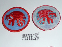 Racoon Patrol Medallion, Blue Twill with plastic back, 1972-1989
