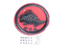 Porcupine Patrol Medallion, Felt w/BSA & Solid Black Ring back, 1933-1939, 1 small moth hole