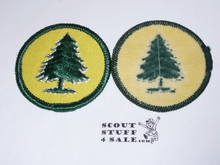 Pine Tree Patrol Medallion, Yellow Twill with plastic back, 1972-1989