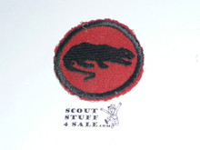 Panther Patrol Medallion, Felt No BSA & Gauze Back, 1927-1933, used and paper on back