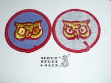 Owl Patrol Medallion, Blue Twill with gauze back, 1972-1989
