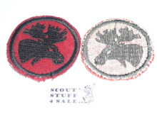 Moose Patrol Medallion, Felt No BSA & Gauze Back, 1927-1933, Lt. use