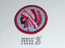 Indian Patrol Medallion, Blue Twill with paper back, 1972-1989