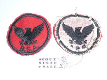 Flying Eagle Patrol Medallion, Felt w/BSA & Solid Black Ring back, 1933-1939, Used