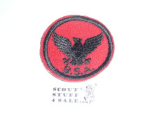 Flying Eagle Patrol Medallion, Felt w/BSA & Solid Black Ring back, 1933-1939