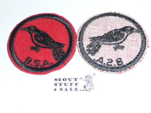 Cuckoo Patrol Medallion, Felt w/BSA & Solid Black Ring back, 1933-1939