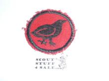 Bobwhite Patrol Medallion, Felt No BSA & Gauze Back, 1927-1933, used