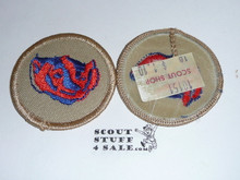 Badger Patrol Medallion, Tan Twill with plastic back, 1989-2002
