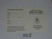 Western Region Order of the Arrow New Member Recruiting Award Record Card