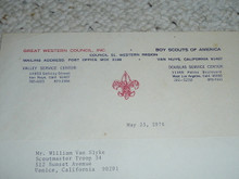 Great Western Council, 1974 Letter on Council Stationary