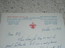 Great Western Council, 1973 Letter on Council Stationary