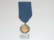 Boy Scout Silver Contest Medal, Very Long Ribbon, Silver Plate