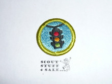 Traffic Safety - Type H - Fully Embroidered Plastic Back Merit Badge (1971-2002)
