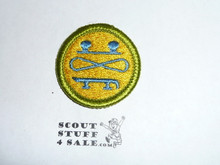 Skating (dull colors) - Type H - Fully Embroidered Plastic Back Merit Badge (1971-2002)
