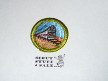 Railroading - Type H - Fully Embroidered Plastic Back Merit Badge (1971-2002)