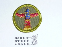Wood Carving - Type F - Rolled Edge Twill Merit Badge (1961-1968)