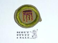 Woodwork - Type C -  Tan Crimped Merit Badge (1936-1946)