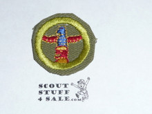 Wood Carving - Type E - Khaki Crimped Merit Badge (1947-1960)