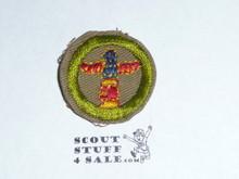 Wood Carving - Type C -  Tan Crimped Merit Badge (1936-1946)