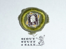Stamp Collecting - Type E - Khaki Crimped Merit Badge (1947-1960), used