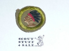 Pathfinding - Type C -  Tan Crimped Merit Badge (1936-1946)