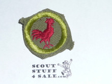 Poultry Keeping - Type E - Khaki Crimped Merit Badge (1947-1960)