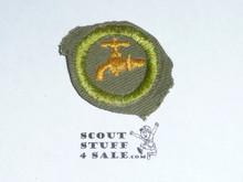 Plumbing - Type E - Khaki Crimped Merit Badge (1947-1960)