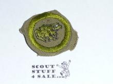 Zoology - Type C -  Tan Crimped Merit Badge (1936-1946), Used