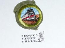 Railroading - Type E - Khaki Crimped Merit Badge (1947-1960)