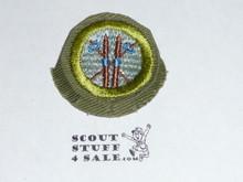 Skiing - Type E - Khaki Crimped Merit Badge (1947-1960)