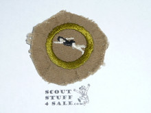 Swimming - Type A - Square Tan Merit Badge (1911-1933), Material trimmed and badge used