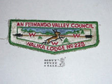 "Walika Order of the Arrow Lodge #228 s1 Flap Plach, needle break in S of ""San"""