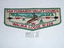 Order of the Arrow Lodge #228 Walika f1 First Flap Patch